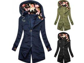 Oblečenie - bunda - dámska jesenná dlhšia bunda s kvetinovou kapucňou - dámska bunda - darček pre ženu