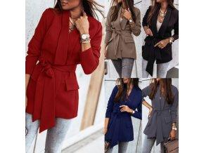 Oblečenie - bunda - dámske módne sako na zaväzovanie z príjemného materiálu - sako - dámsky kabát