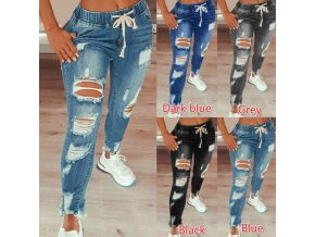 Oblečenie - džínsy - dámske džínsové trhané nohavice na gumu - dámske nohavice - výpredaj skladu