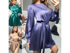Oblečenie - šaty - dámske spoločenské lesklé šaty s dlhým rukávom na zaväzovanie - spoločenské šaty - dámske šaty