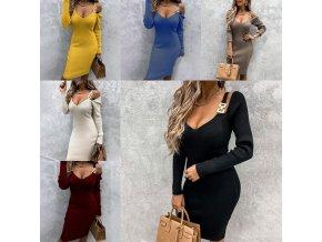 Oblečenie - šaty - dámske dlhšie šaty s výstrihom do V sa zdobením na ramenách - dámske šaty - darčeky pre ženy