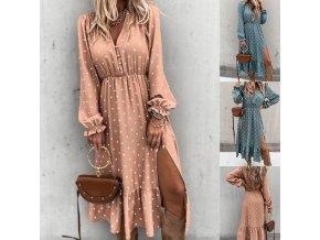 Oblečenie - šaty - dlhé bodkované letné Boho šaty s rozparkom - letné šaty - dámske šaty