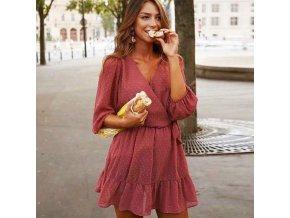 Oblečenie - šaty - dámske letné šaty s volánikmi sa zavinovaním - letné šaty - dámske šaty - zľavy dnes