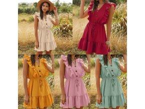 Oblečenie - šaty - letné vzdušné šaty zdobené volánikmi na zaväzovanie - letné šaty - dámske šaty - výpredaj skladu