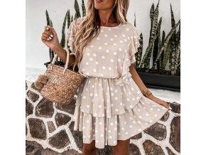 Oblečenie - šaty - letné dámske bodkované šaty vo svetlo ružovej farbe - letné šaty - darček pre ženy