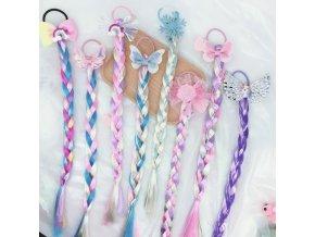 Účes - vlasy - ozdobný vrkoč do vlasov s gumičkou v rôznych variantoch - darček pre deti