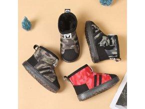Detské oblečenie - topánky - detské chlapčenské zimné kapce s vojenským vzorom - zimné topánky - výpredaj skladu