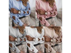 Oblečenie - mikina - dámska mikina s mašľami na rukávoch zdobené flitrami - dámske mikiny - mikiny - výpredaj skladu