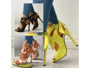 Topánky - dámske topánky - dámske letné sandále na podpätku s mašľou - dámske sandále