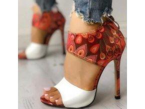 Topánky - dámske topánky - dámske letné sandále na vysokom podpätku s potlačou peria - darček pre ženy