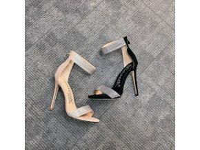 Topánky - dámske topánky - sexi sandále na vysokom podpätku zdobené kamienkami - dámske sandále - darčeky pre ženu