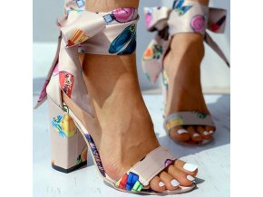 Topánky - dámske topánky - dámske sandále na širokom podpätku so stuhou na zaväzovanie - dámske sandále - darček pre ženy