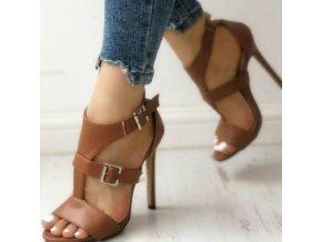 Topánky - dámske topánky - dámske topánky na ihličkovom podpätku s prackami v čiernej a hnedej farbe - zľavy dnes