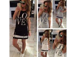 Dámske oblečenie - šaty - dámske pohodlné tričkové šaty s nápisom LOVE - dámske šaty - letné šaty