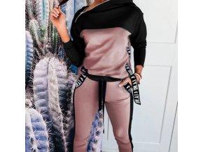 Dámske oblečenie - tepláková súprava - dámska módna ružovo čierna tepláková súprava - dámska tepláková súprava - dámske tepláky