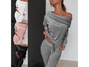 Dámske oblečenie - tepláková súprava - dámska módna jednofarebná tepláková súprava z pohodlného materiálu - dámska tepláková súprava