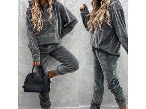 Dámske oblečenie - tepláková súprava - dámska semišová tepláková súprava v šedej a khaki farbe - dámska tepláková súprava