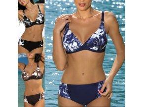 Plavky - dámske plavky - dámske vzorované push up plavky v troch farbách - dvojdielne plavky