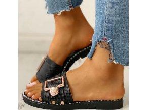 Topánky - dámske topánky - šľapky - dámske letné šľapky s pásikom v troch farbách - dámske šľapky