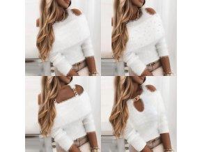 oblečenie - dámske svetre - dámsky biely chlpatý sveter vo viacerých variantoch - sveter - dámske oblečenie - zľavy dnes