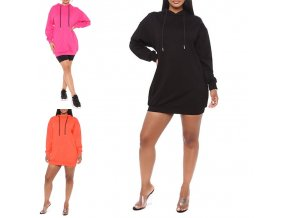 oblečenie - dámske šaty - mikinové šaty - dámske pohodlné mikinové šaty s kapucňou - mikina-šaty