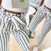 Dámské stylové kalhoty s vyšším pasem s pruhy (Velikost S)