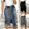 Dámske oblečenie dámska sukňa džínsová sukňa zapínacie - až 3XL (Farba Čierna, Velikost S)