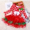 Dětské oblečení- dívčí šaty s Vánočním motivem santa červené (Vel 90)