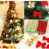 Vánoční dekorace- 12ks mašlí na dárky nebo vánoční stromeček (Barva Zlatá)