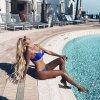 Dámske oblečenie - plavky - dámske plavky - dvojdielne plavky -push up - luxusná push up plavky v kráľovskej modrej farbe zdobené kamienkami - výpredaj skladu