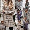 Oblečenie - kabát - dámsky módny jesenné kabát v kockovanom vzore so zlatými gombíkmi - dámsky kabát - dámske kabáty