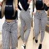 Oblečenie - nohavice - dámske vzorované nohavice s vysokým pásom na zaväzovanie - dámske nohavice - výpredaj skladu