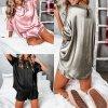 Oblečenie - pyžamo - dámske pyžamo - dámsky saténový set pyžamá kraťasy + tričko - darček k Vianociam - darčeky pre ženu