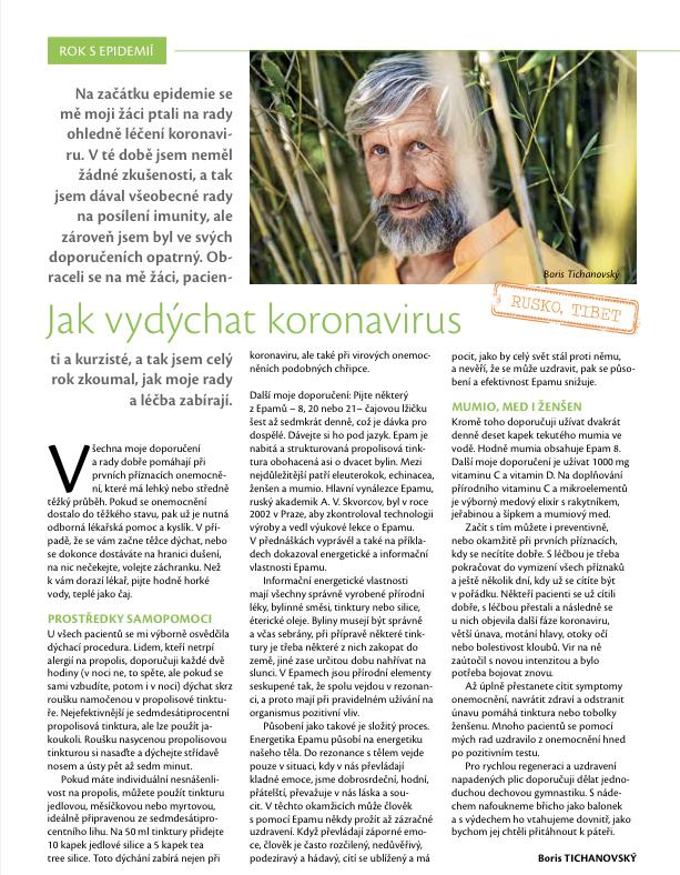 Jak vydýchat koronavirus  B. Tichanovský