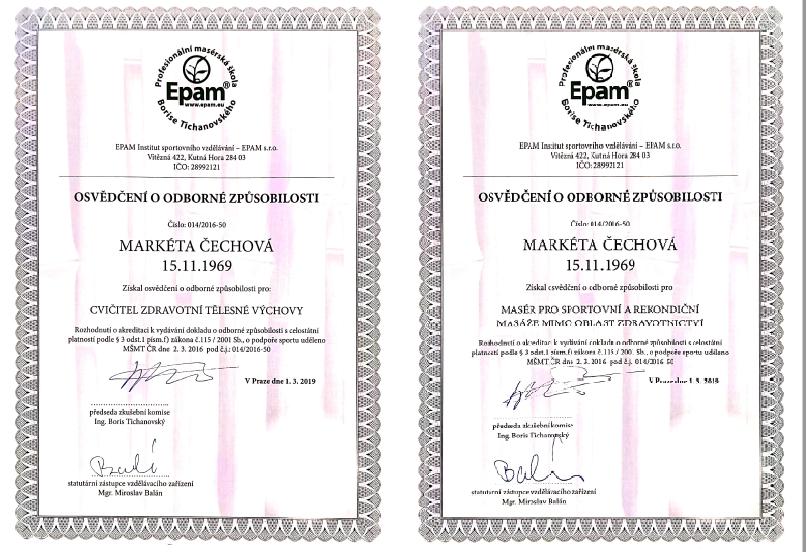 Certifikáty o dosažené odbornosti
