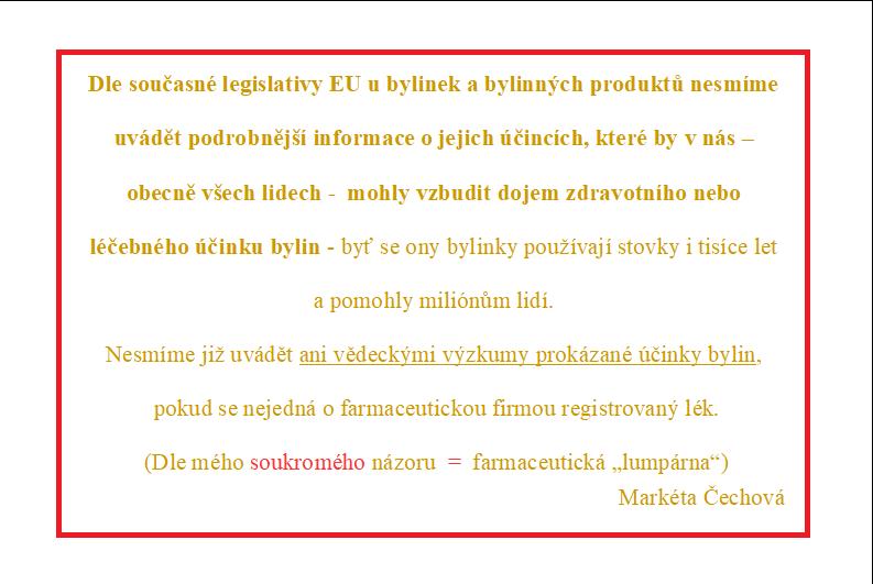 """Info o zákazu LT (""""lékařská tvrzení"""") o bylinách a jejich účincích"""