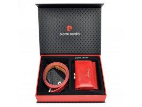 Pierre Cardin Darčeková dámska luxusná sada kožený pásik a peňaženka ZG-W-01