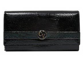 Cavaldi Kožená peňaženka dámska čierno-modrá v darčekovej krabičke