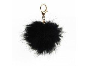 Čierna brmbolce s karabínou - prívesok na kabelku