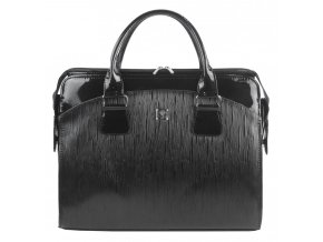 PUNCE LC-01 čierna vrúbkovaná dámska kabelka pre notebook do 15.6 palca