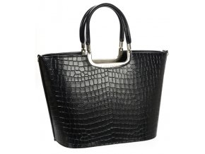 Luxusná kabelka čierna lakovaná S7 krokodíl GROSSO