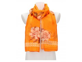 Dámska letná šatka / šál 179x100 cm oranžová s kvetmi