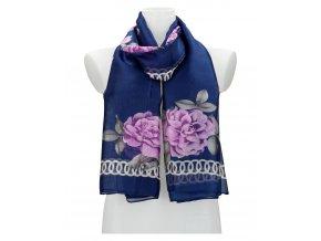 Dámska letná šatka / šál 179x100 cm modrá s kvetmi