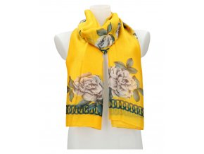 Dámska letná šatka / šál 179x100 cm žltá s kvetmi