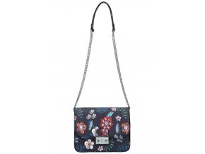 Crossbody dámska kabelka na retiazke v kvetovanom motíve XS7033 modrá