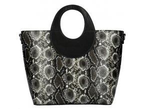 Veľká čierna dámska kabelka do ruky s hadím vzorom