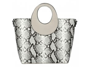 Veľká sivá dámska kabelka do ruky s hadím vzorom