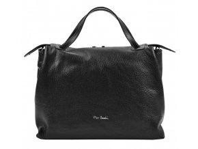 Pierre Cardin Kožená väčšia dámska kabelka do ruky čierna