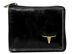 Čierna pánska kožená peňaženka RFID obvodový zips v krabičke WILD