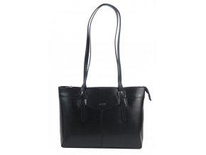Kožená dámska kabelka cez rameno čierna